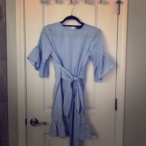 Blue and White Striped Bell Sleeve Ruffle Dress
